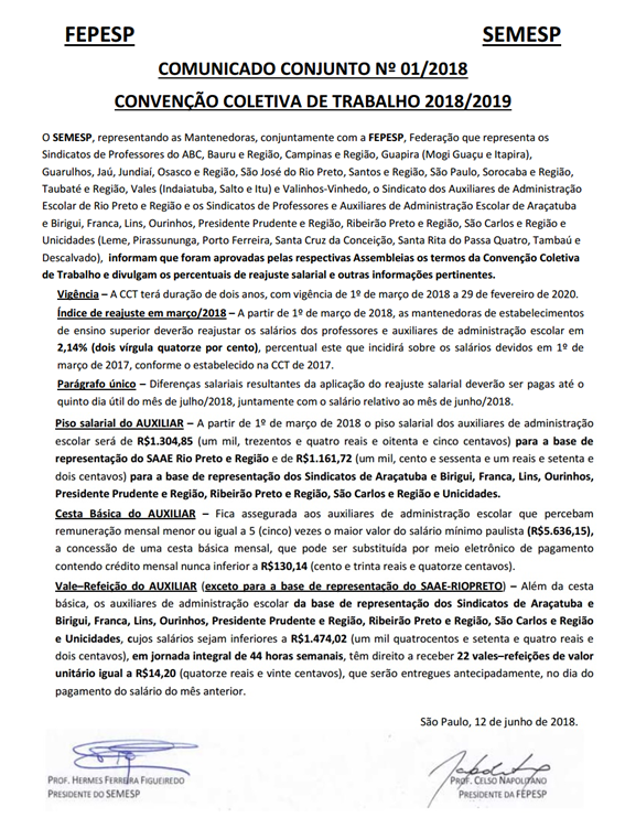 Comunicado Conjunto Ensino Superior N°01_2018