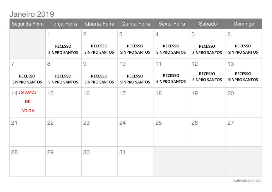 Calendário Janeiro